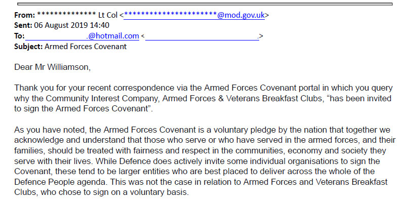 MOD Deny AFVBC.net was asked to sign the Covenant