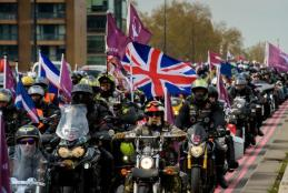 The 'Rolling Thunder' Motorbike protest through central London in support of Soldier F. April 12, 2019.  Credit: Anthony Upton